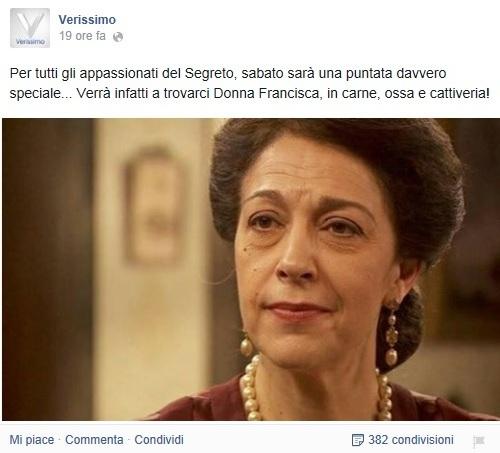 Il Segreto: MARIA BOUZAS (Donna Francisca) a VERISSIMO sabato 27 ...